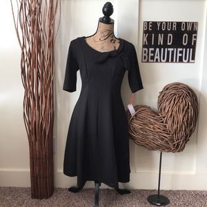 Elle fit and flare little black dress with bow